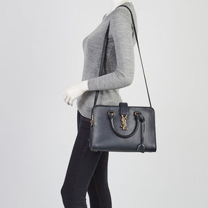 YSL NWT Gray Smooth Calfskin Medium Cabas Satchel